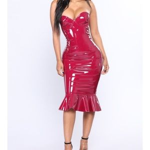 Dresses & Skirts - Burgundy latex dress